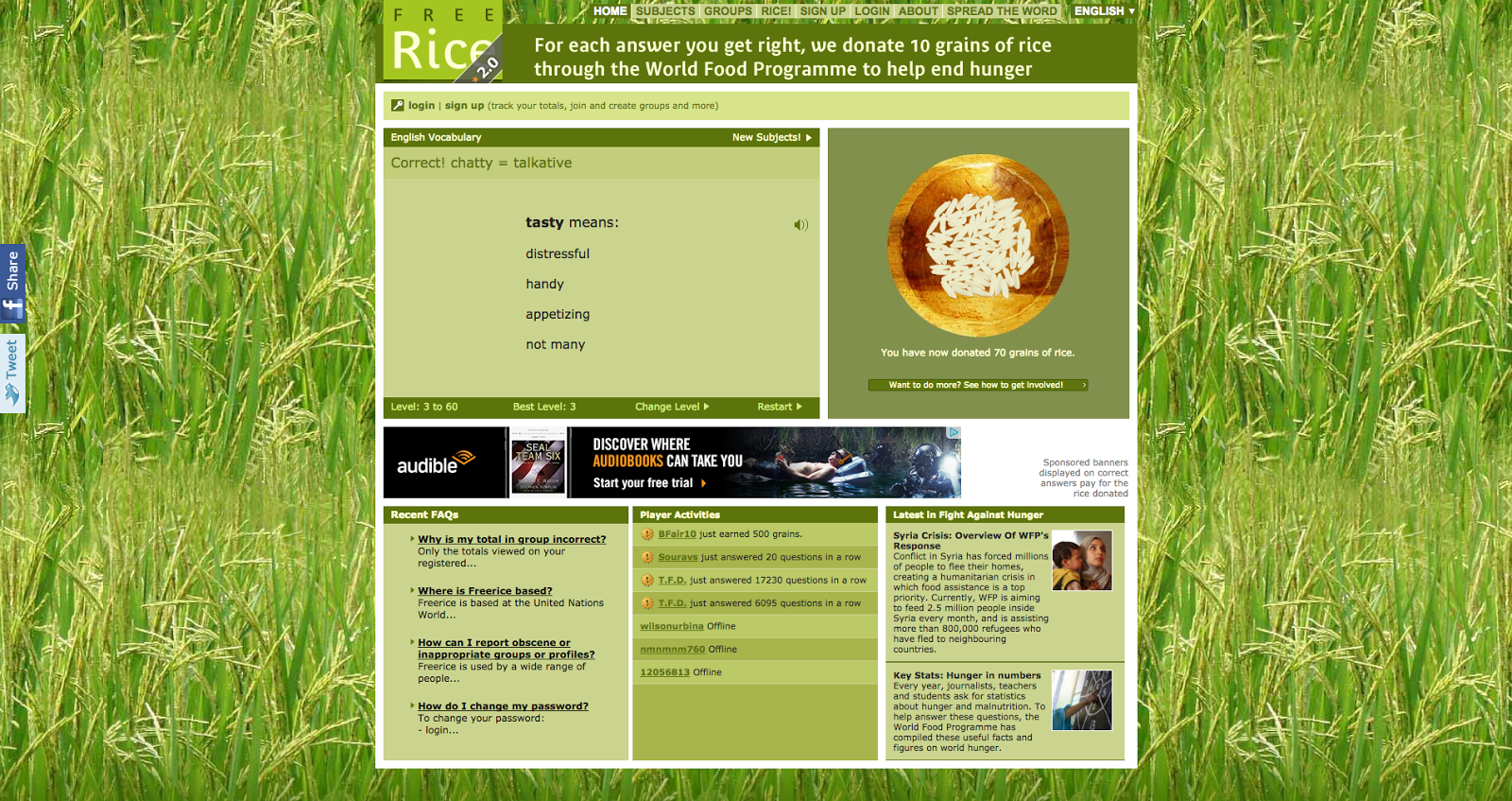Free Rice engagement