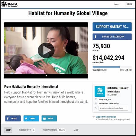 Habitat for Humanity is a nonprofit that used a crowdfunding campaign to get donations online.