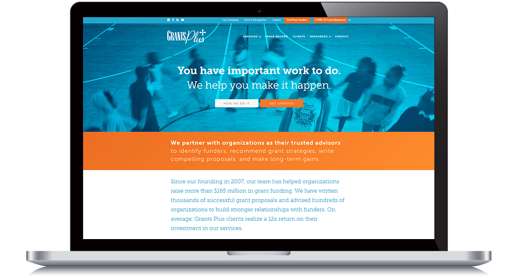 Explore Grants Plus's website to learn more about this nonprofit consulting firm.