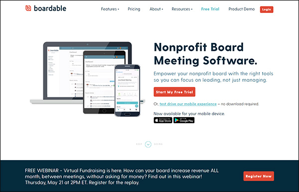 Explore Boardable's website to learn more about their top fundraising software for nonprofit board management.