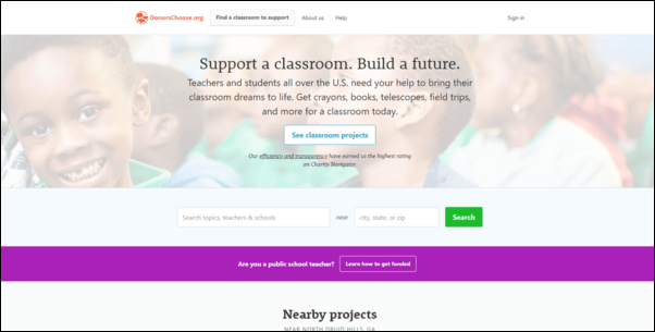 DonorsChoose is one of the best online donation tools for teachers.