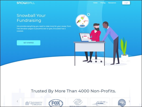 Snowball's mobile giving fundraising software gives your donors new options.