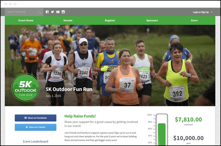 Here's an example of a Qgiv peer-to-peer fundraising campaign page.