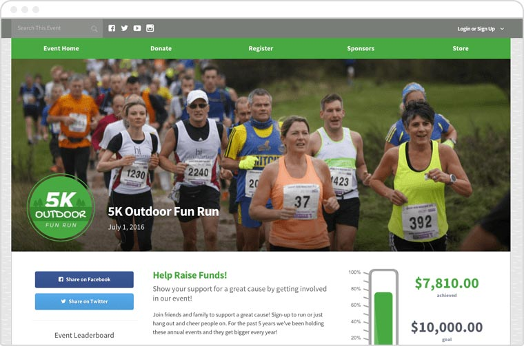 Your peer-to-peer donors can support you through custom campaign pages or text-to-give tools.