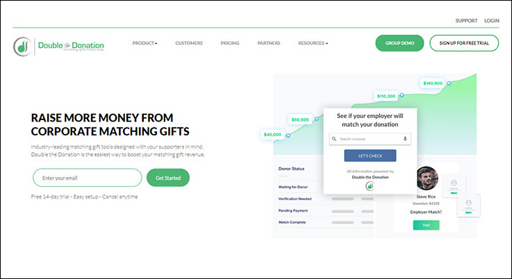 Double the Donation is a top matching gift tool for nonprofits.