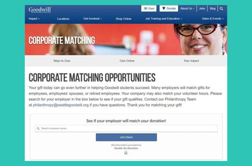 Create a dedicated matching gift informative page on your website.