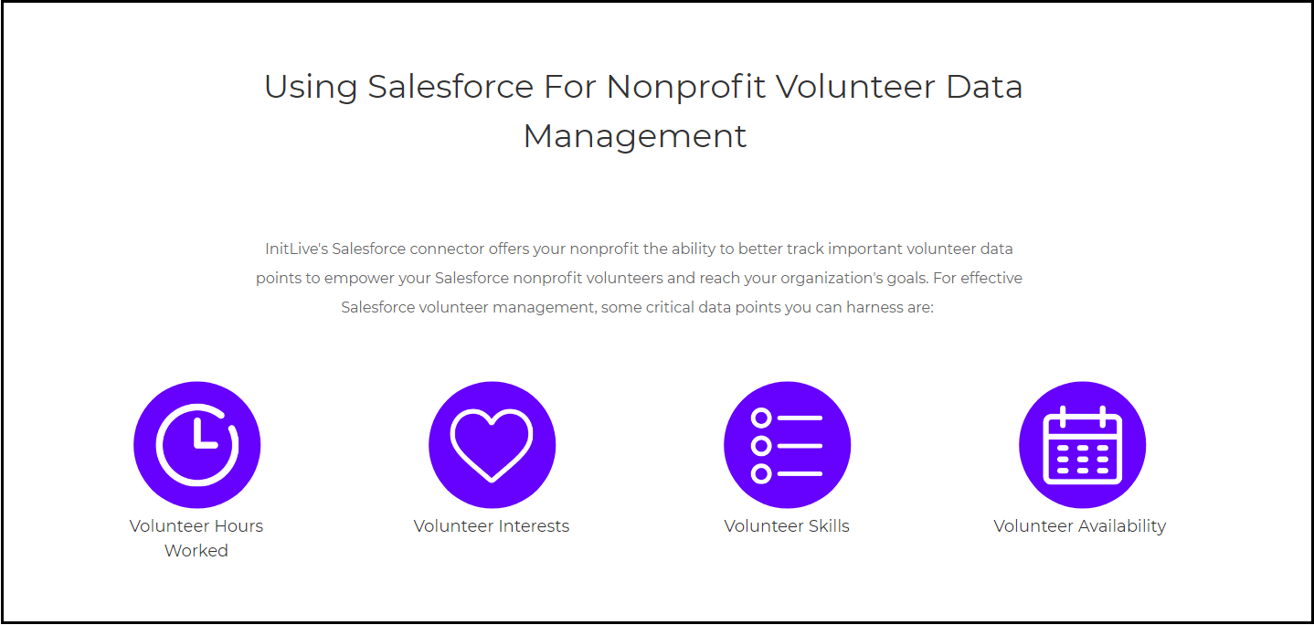 InitLive offers a fully comprehensive volunteer management software that seamlessly integrates with Salesforce.