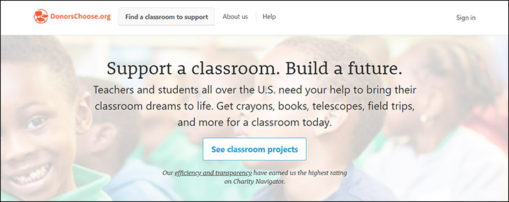 Visit DonorsChoose's website for more information about the donation platform.