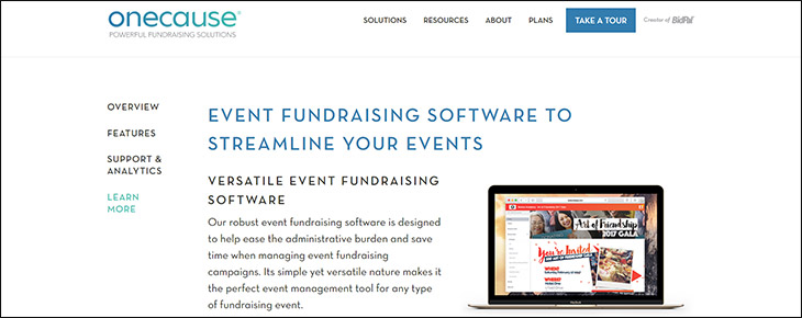 Visit OneCause's website for more information about the donation platform.
