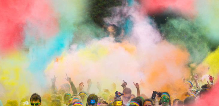 A color run is a great high school fundraising idea.