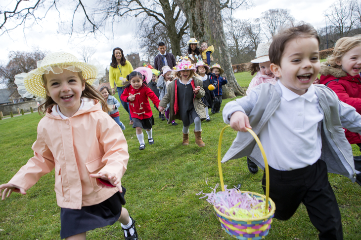 An egg hunt is a great holiday fundraising idea for schools.