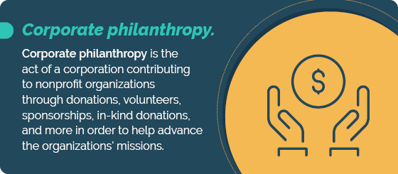 Corporate philanthropy is the act of a corporation contributing to nonprofits.