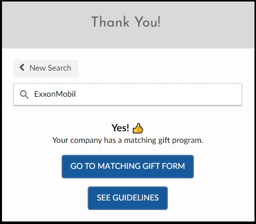 Lead donors to the gift matching page of their employers