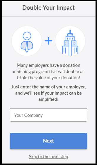 Screenshot of Fundraise Up Donation page