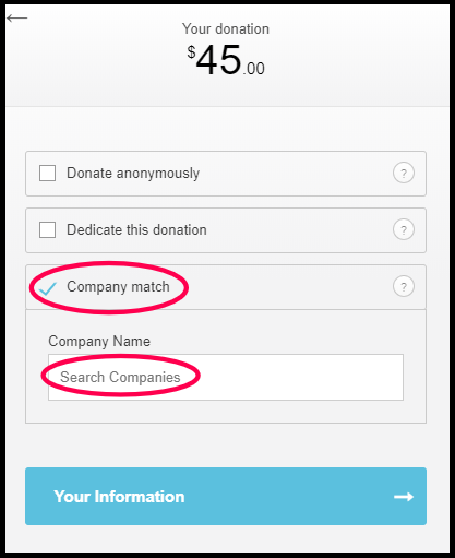 Photo of the Funraise donation page with the option to enter a company circled in red