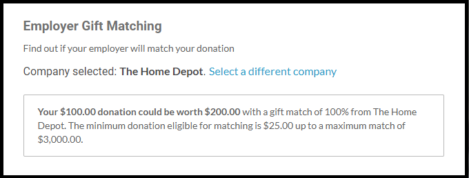 This image shows the Raisin donation page after selecting a company.