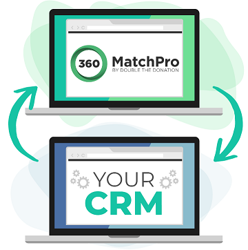 "This image shows to laptops, one states ""360MatchPro"" and the other says ""Your CRM"". There are arrows pointing to each laptop to represent the two systems syncing."