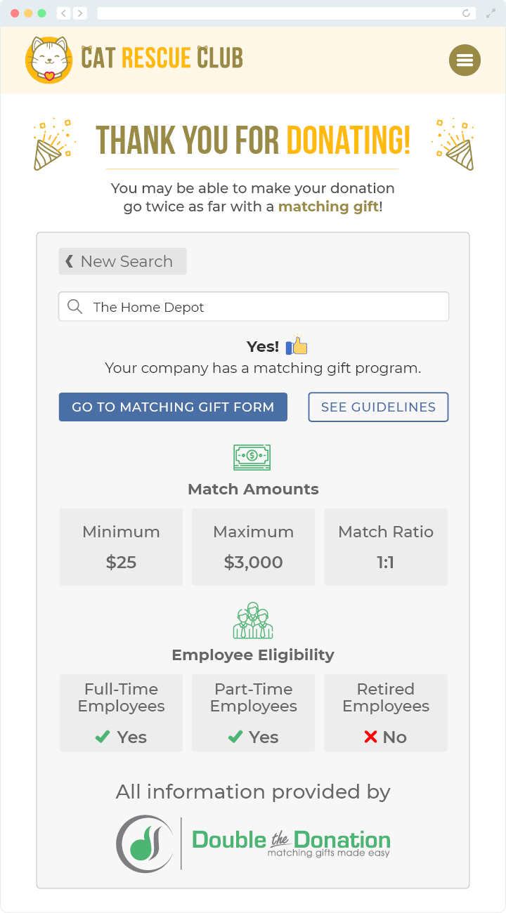 This image shows a generic confirmation page for 360MatchPro. It displays a thank you note, and it provides information about the donor's gift matching program.