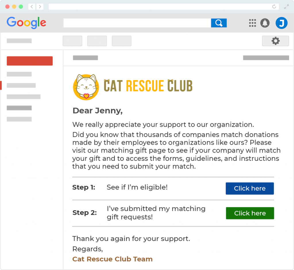 This image shows a mock email from a demo organization called Cat Rescue Club. The email encourages the donor to check to see if they are eligible for a matching gift from their employer.