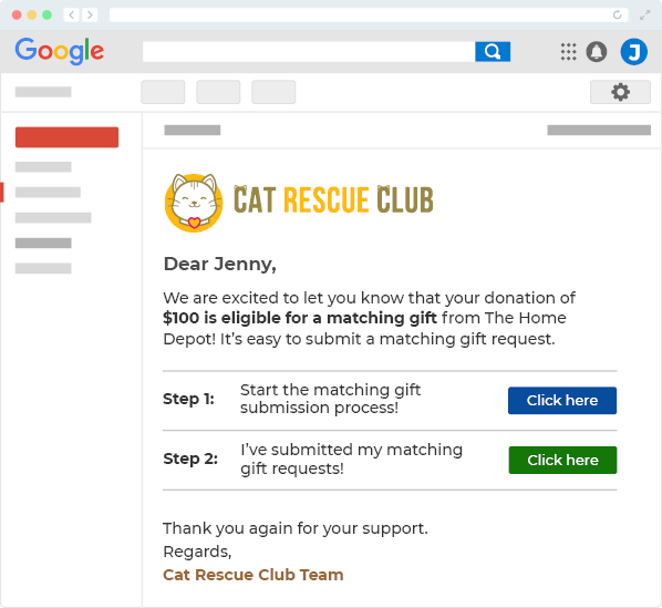 This image displays a demo email that is sent to the donor. It asks them to submit a gift matching request.