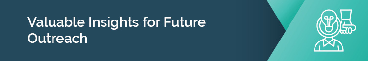 "This header reads: ""Valuable insights for future outreach."""