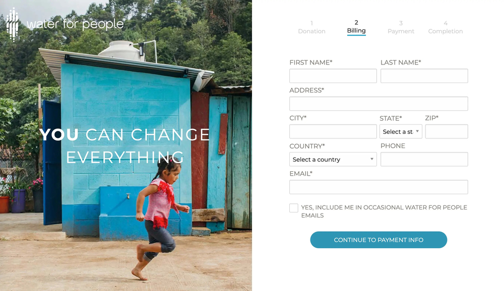 This example donation page shows how web design can support conversions through clear label and visuals.