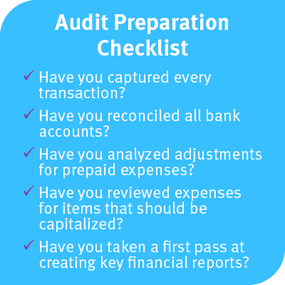 This checklist includes the things you should do to prepare for your audit.