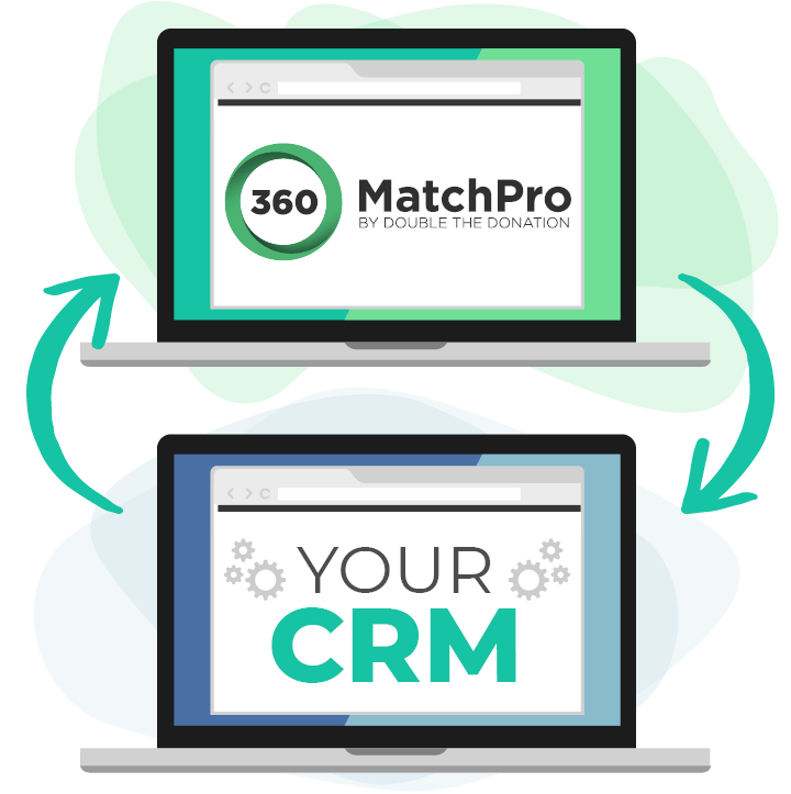 360MatchPro and Your CRM with arrows to and from each