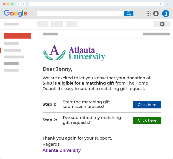 Example matching gifts follow-up email from Atlanta university