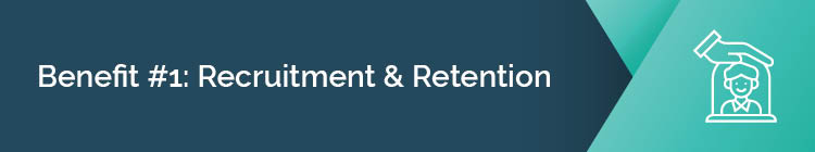 Employee recruitment and retention is one of the benefits of workplace giving.