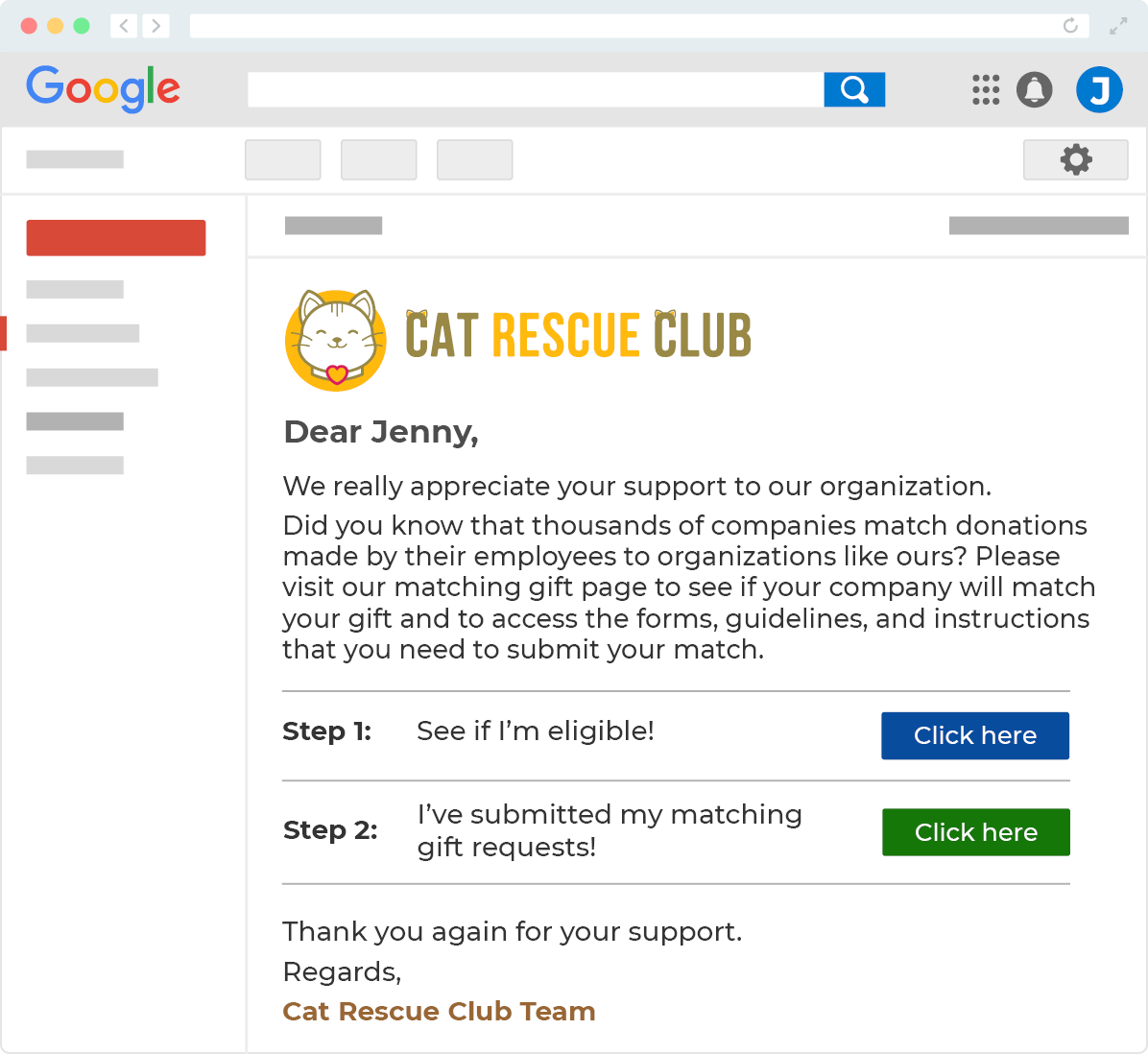 example email for donors to check matching gift eligibility