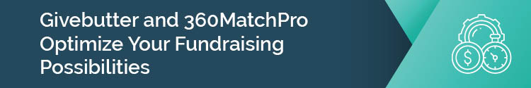 Givebutter and 360MatchPro header graphic
