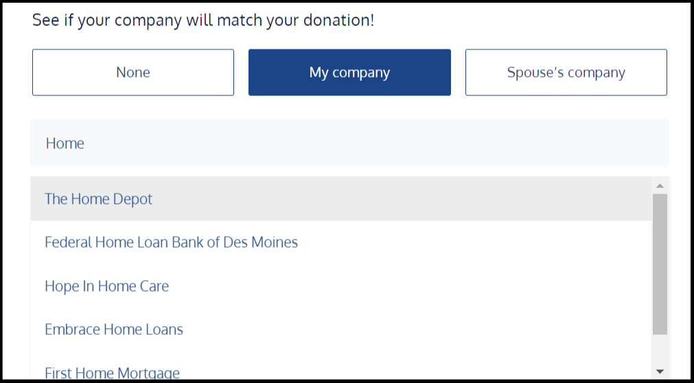 Shift Marketing donation page search bar example