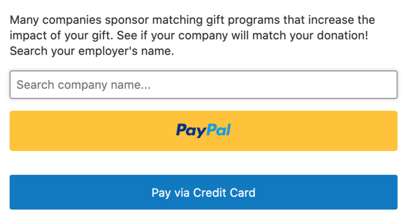 Example search field on donation page engaging networks and 360matchpro integration